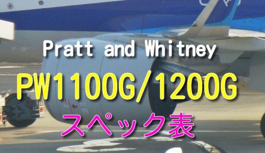 PW1100G・PW1200G シリーズ エンジン スペック・諸元表