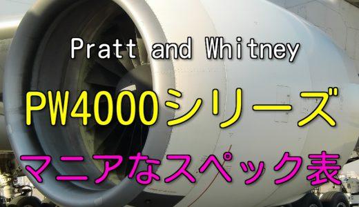 PW4000 シリーズ エンジン スペック・諸元表
